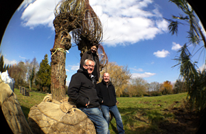 Jinny with Robin and Mark from Hortus Loci and the willows being grown for her garden